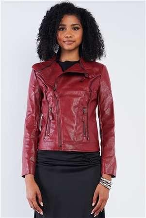 Red Vegan Leather Multiple Zipper Accent Biker Jacket /2-2-2