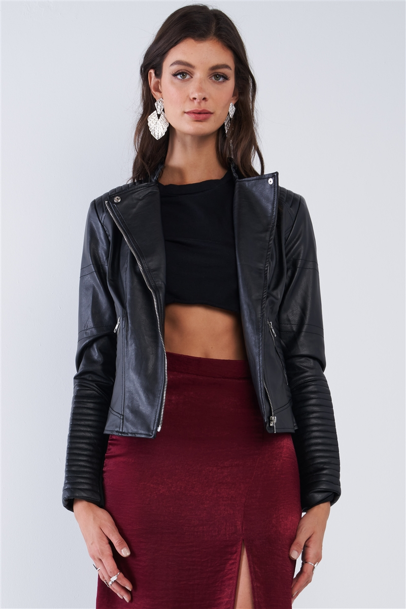 Black Oblique Zipper Tight Fitting Ribbed Accents Vegan Leather Biker Jacket /2-2-2