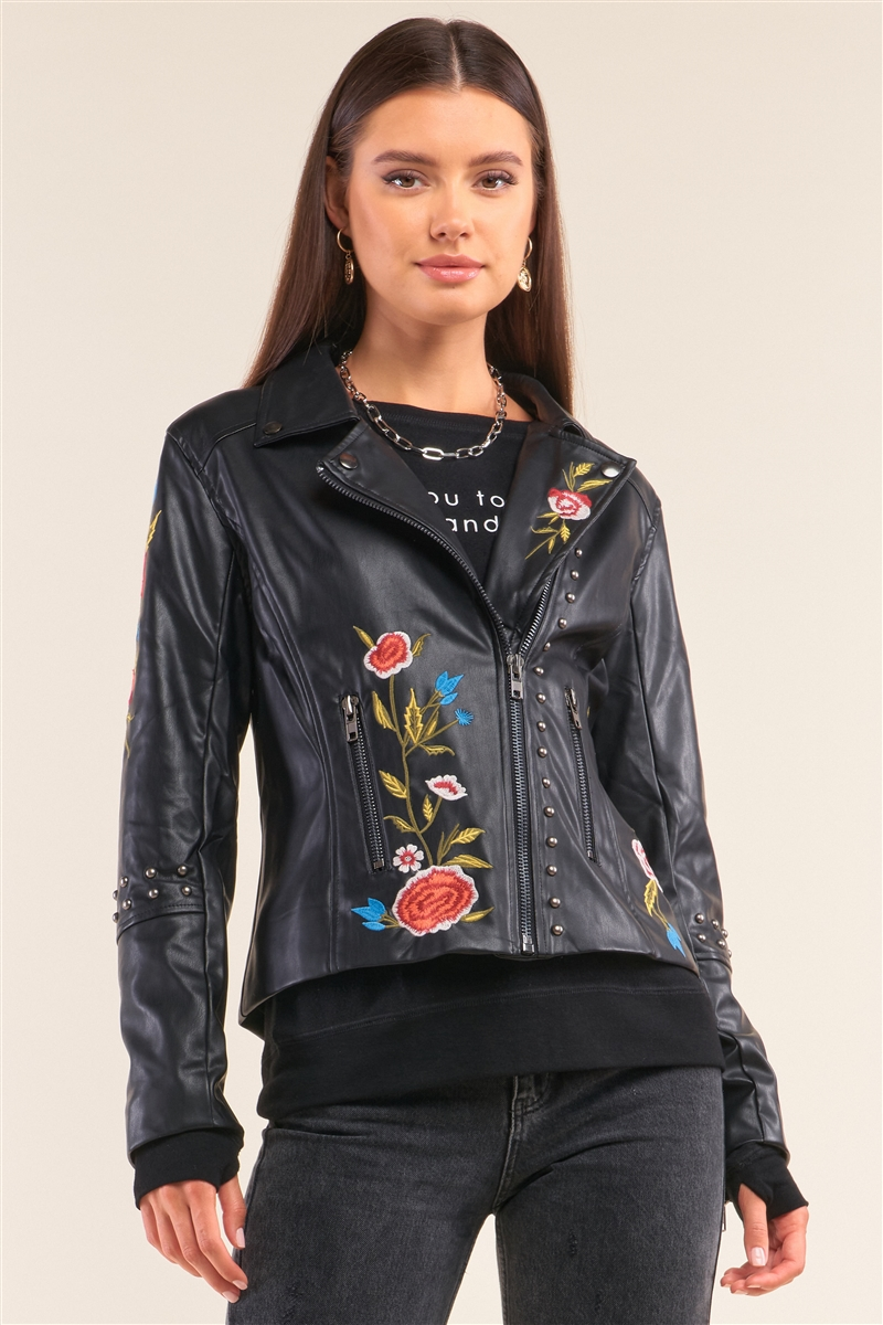 "Black Metal Beads Detail Floral Embroidery Long ""Tattooed"" Sleeve Vegan Leather Jacket /1-1-1-1-1"