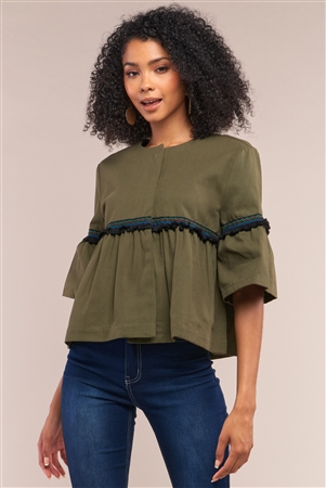 Olive Multicolor Embroidery Shredded Trim Detail Midi Bell Sleeve Crew Neck Flare Cropped Jacket /1-2-3-1