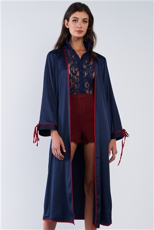 Navy Blue Satin Open Front Long Sleeve Red Self Tie String Detail Kimono Inspired Midi Cover Up /1-2-2-1