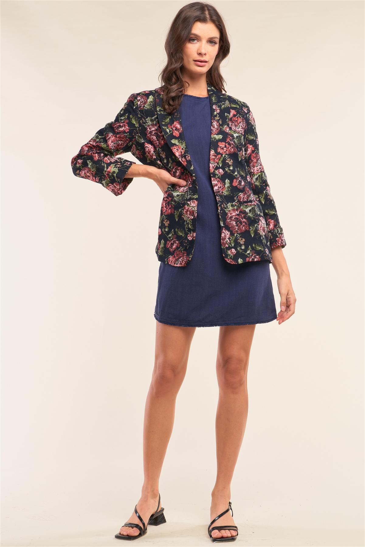 Black Multicolor Floral Brocade Open Front Vintage Chic Blazer /2-2-1
