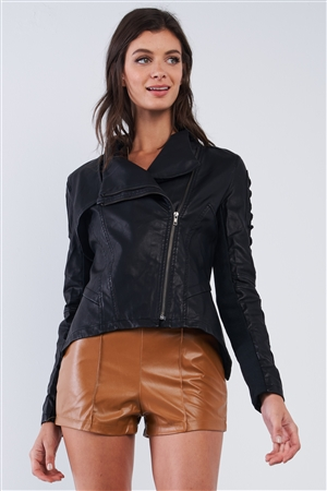 Black Vegan Leather Front Oblique Zipper Rope Detail Sleeve Moto Jacket /2-2-2