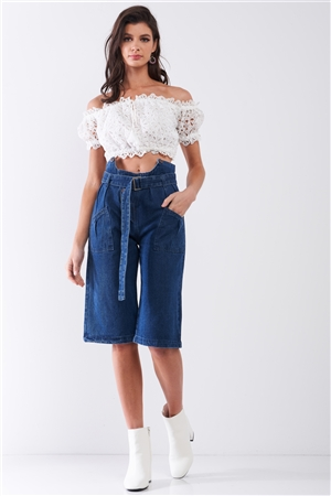 Dark Blue Denim Front Cut-Out High-Waist Buckle Self-Tie Belt Detail Midi Flare Jean Pants