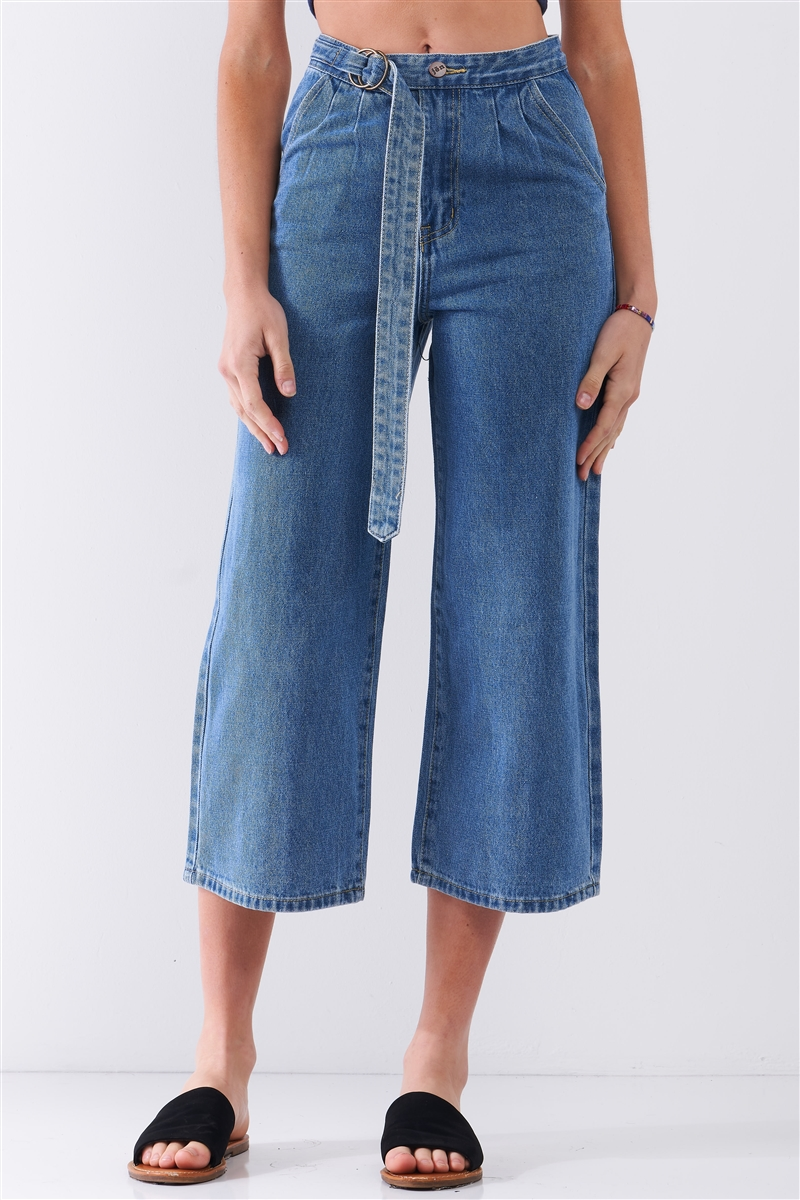 Mid-Blue High-Waisted Cropped Wide Leg Self-Tie D-Ring Belt Denim Pants