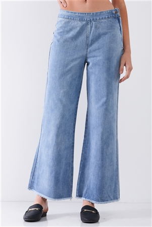 Mid Blue Denim Low-Rise Raw Hem Detail Side Zip-Up Basic Flare Jean Pants