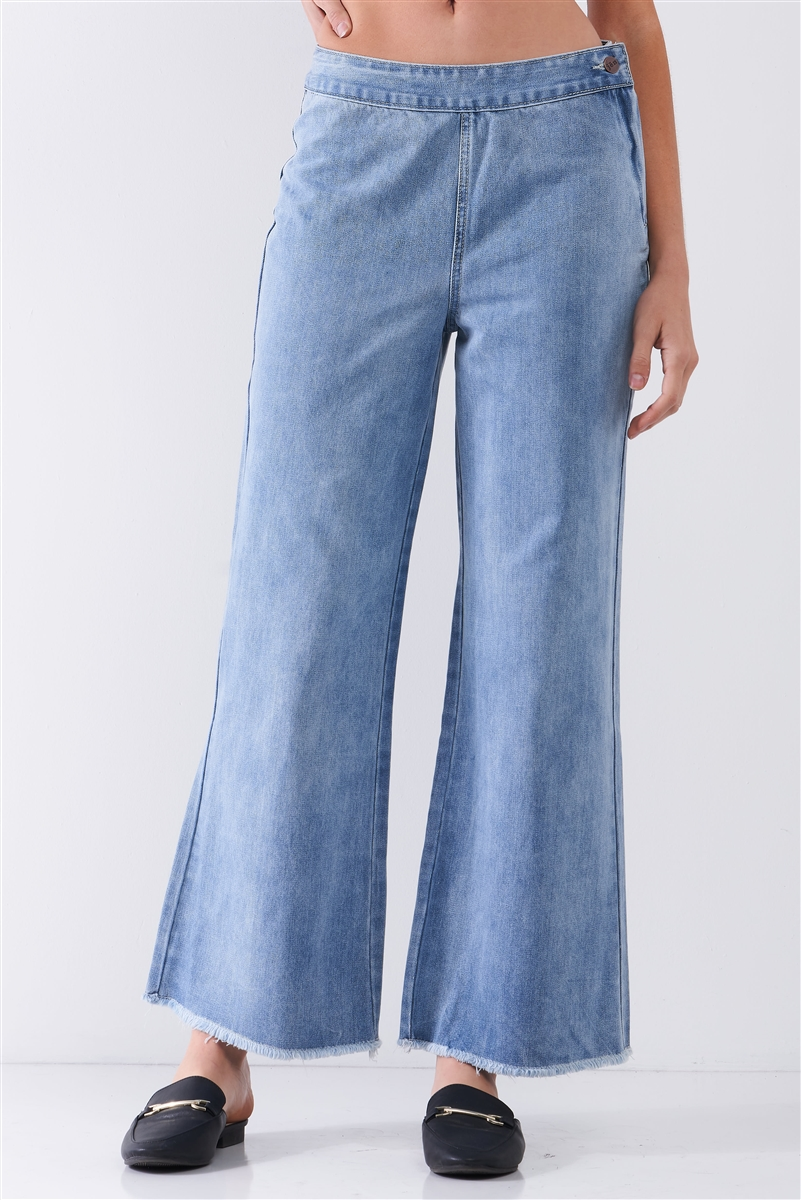 Mid Blue Denim Low-Rise Raw Hem Detail Side Zip-Up Basic Flare Jean Pants /1-1-2-2-1-1