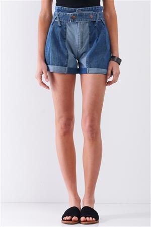 Mid-Blue Two Tone Wash High-Waisted Cuffed Denim Mom Shorts