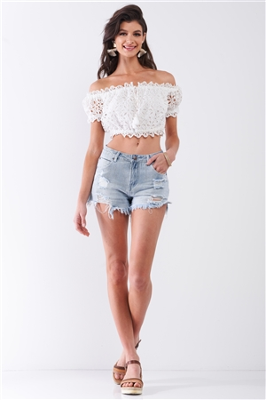 Light-Blue Wash Destroyed High-Waisted Raw Hem Denim Shorts