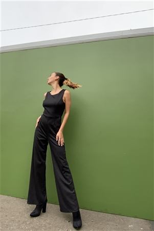 Washed Black Sleeveless Round Neck Criss-Cross Back Detail Wide Leg Jumpsuit /2-2-2