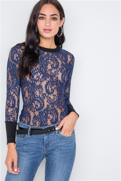 Navy Blue Contrast Cuffs Sheer Lace Bodysuit