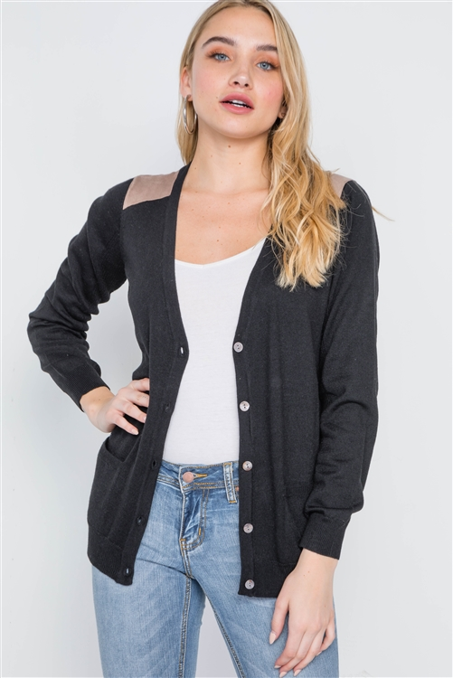 Black Long Sleeve Knit Button Front Cardigan