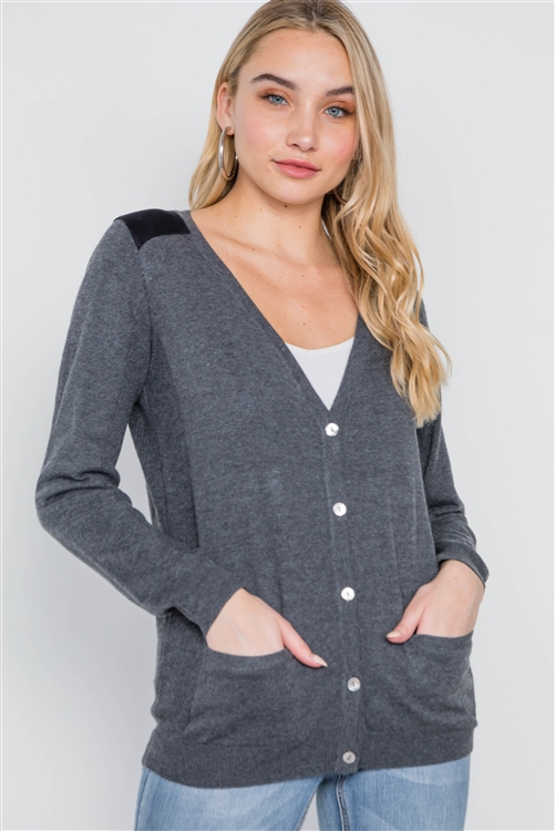 Charcoal Long Sleeve Knit Button Front Cardigan
