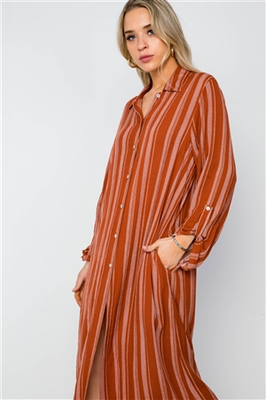 Rust Stripe Long Sleeve Button Down Shirt Dress