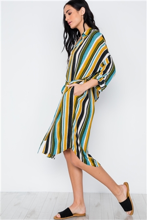 Black Mustard Olive Multi Stripe Button Down Shirt Dress