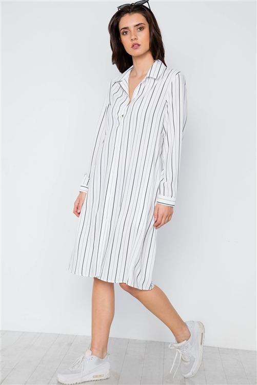 White Stripe Button Down Blouse Shirt Dress