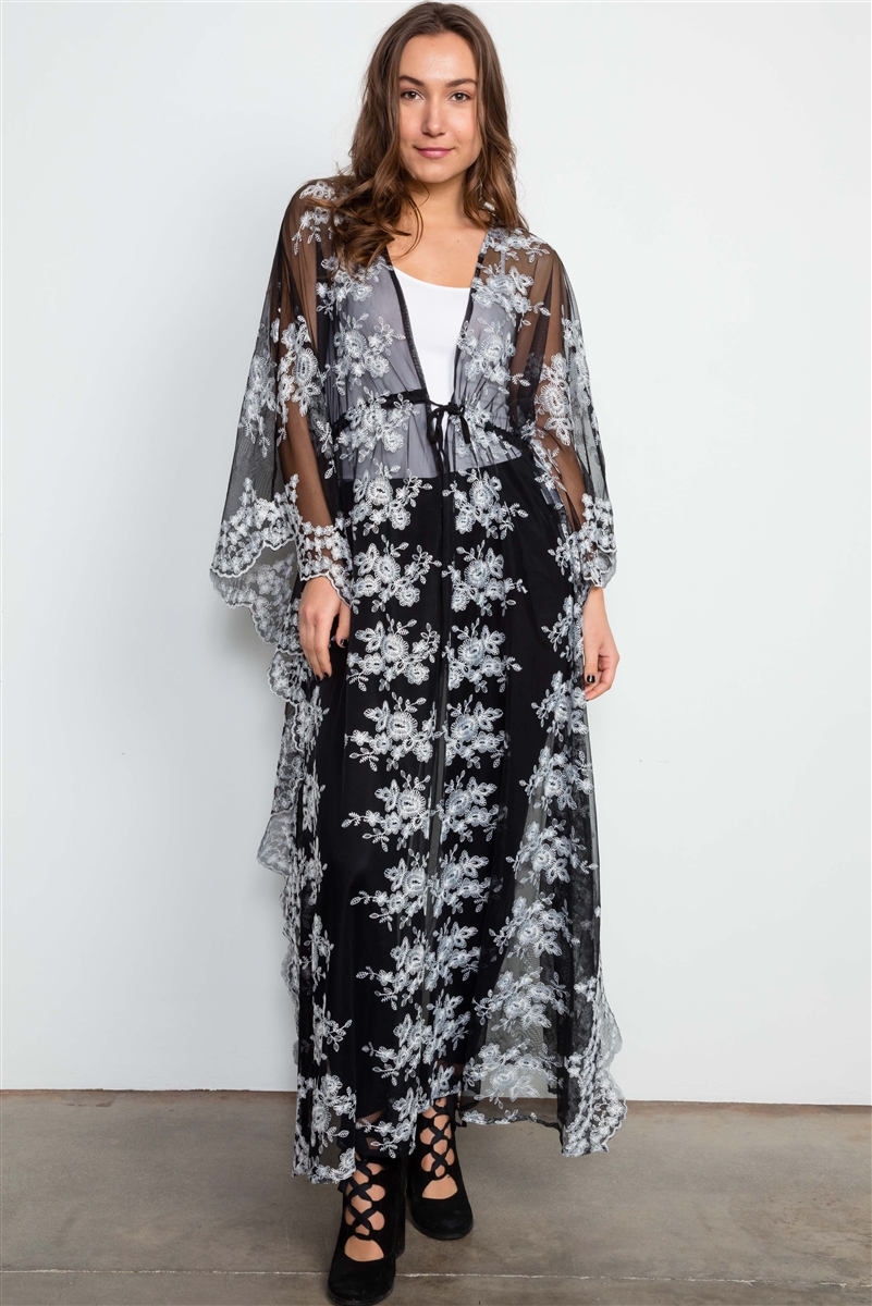 Black Sheer White Floral Embroidered Lace Kimono Cover Up Kaftan