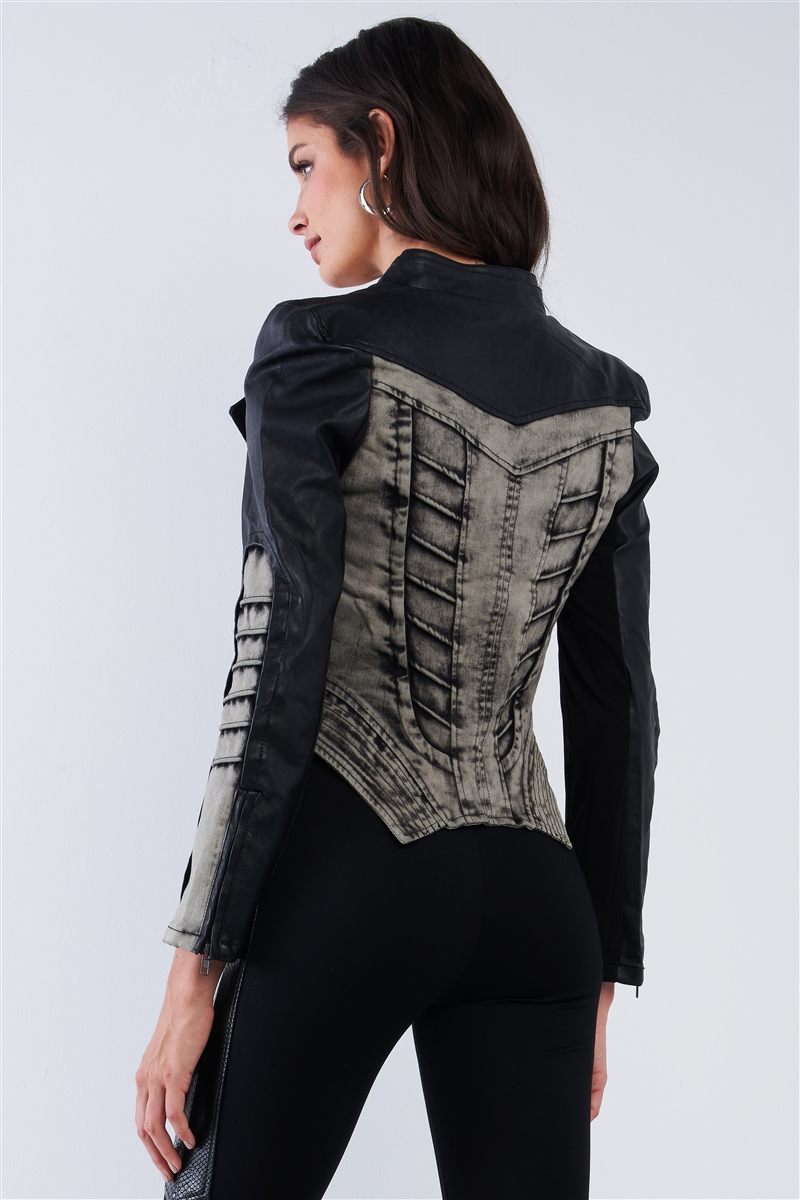 Black And Washed Grey Asymmetrical Ribbed Corset Inspired Oblique Zipper Moto Jacket /2-2-2