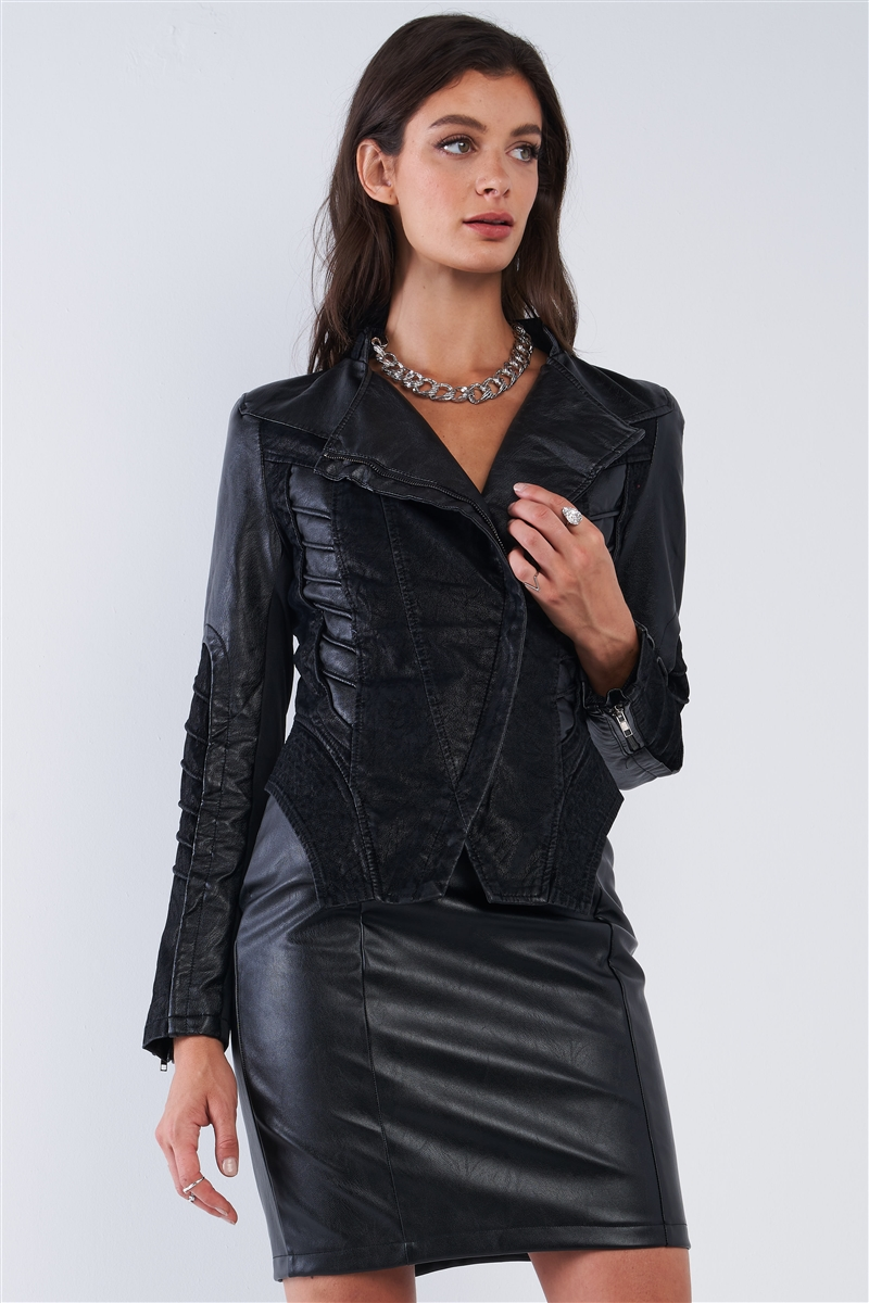 Black Asymmetrical Ribbed Corset Inspired Oblique Zipper Pleated Trim Moto Jacket /2-2-2