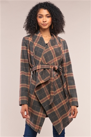 Grey Taupe Checkered Asymmetrical Open Front Detachable Self-Tie Belt Coat