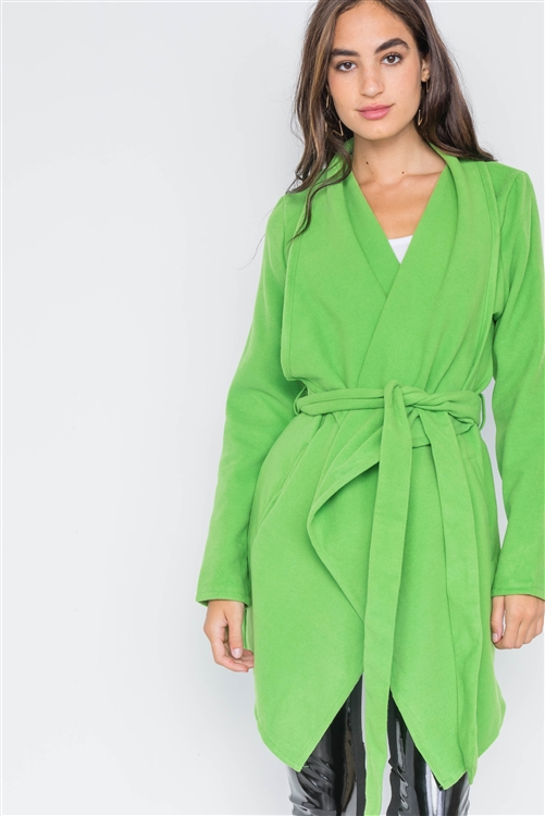 Apple Green Fleece Drape-Front Jacket