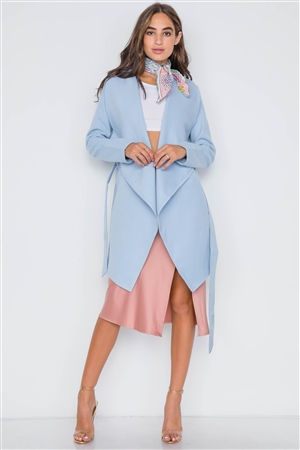 Light Blue Fleece Drape-Front Long Sleeve Jacket