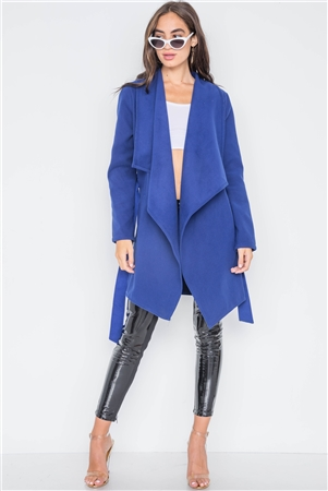 Royal Blue Fleece Drape-Front Long Sleeve Jacket