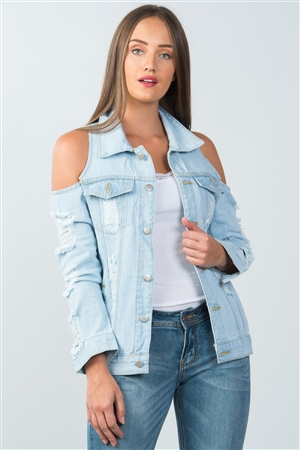 Light Blue Cold Shoulder Denim Jacket