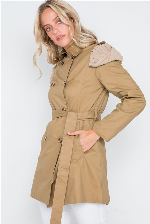 Khaki Double Breasted Long Sleeve Trench Coat