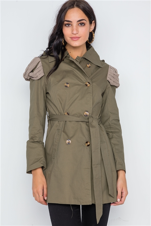 Olive Double Breasted Long Sleeve Trench Coat