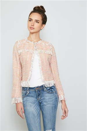 Warn Sunglow Frayed Edge Tweed Blazer