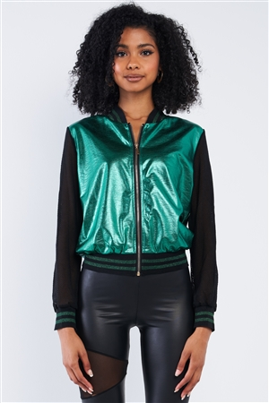 Shiny Green 1980's Inspired Metallic Rave Net Long Sleeve Bomber Jacket /2-2-2