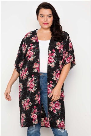 Plus Size Black Floral Print Boho Short Sleeve Cardigan