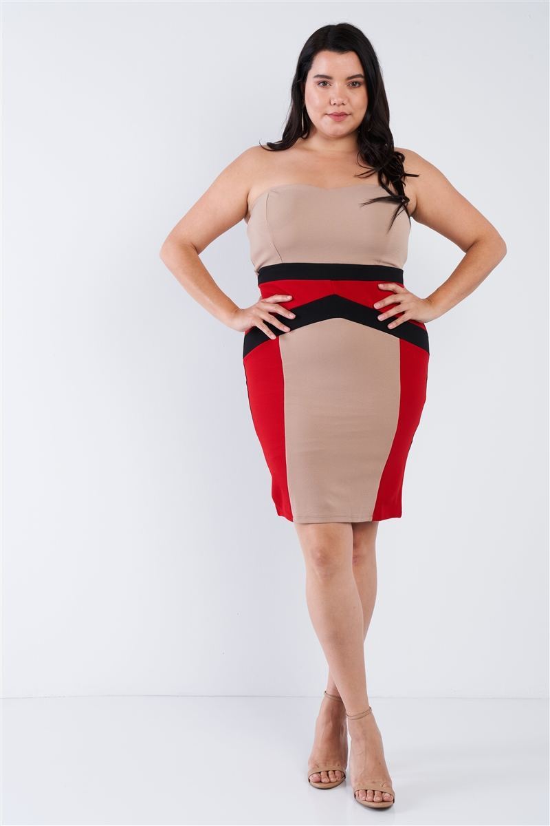 Black Taupe Red Plus Size Bodycon Dress