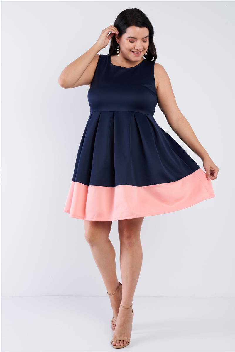 Navy Plus Size Pleated Colorblock Mini Dress