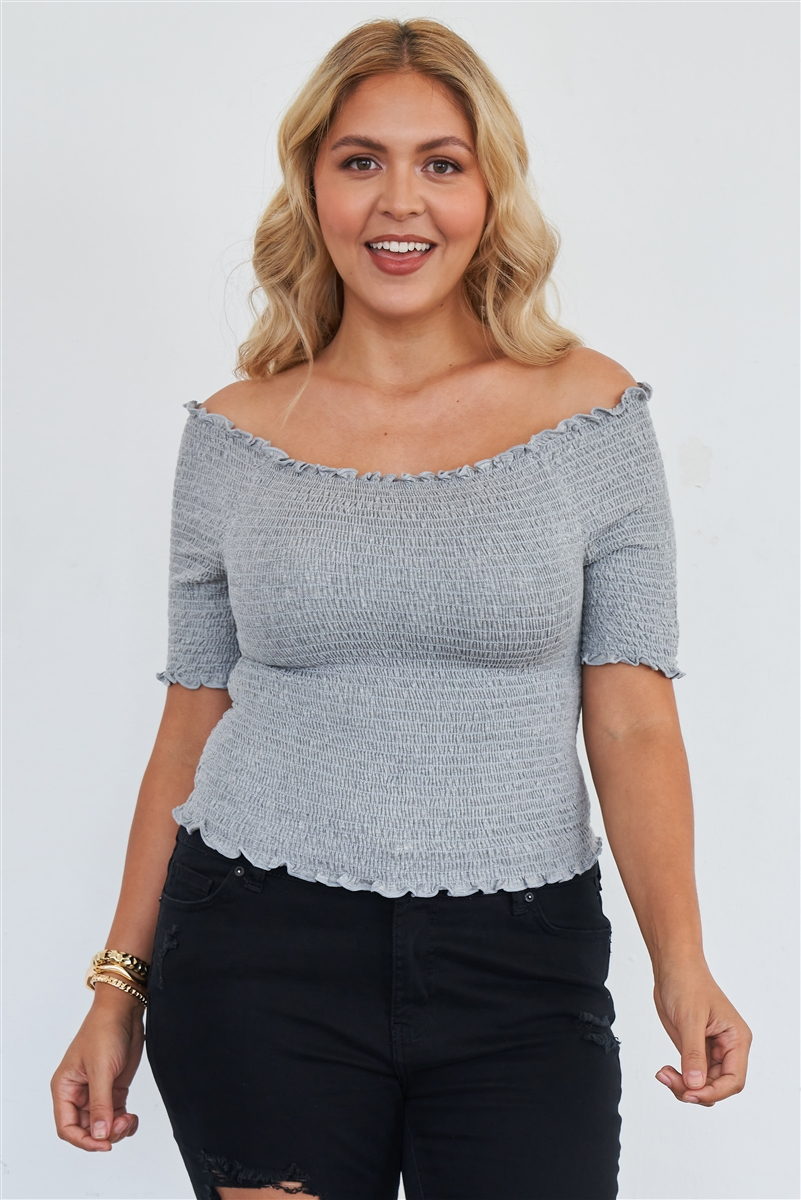 Junior Plus Size Grey Off The Shoulder Top