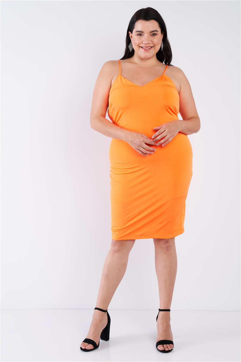 Plus Size Orange V-Neck Solid Cami Satin Mini Dress