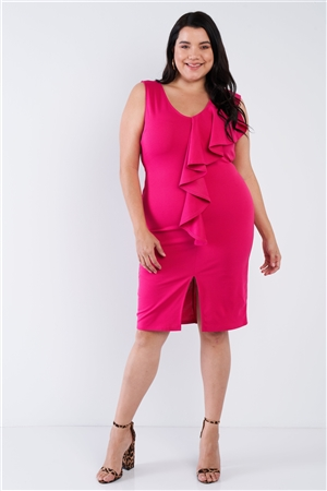 Junior Plus Size Fuchsia Bodycon Ruffle Front Midi Dress