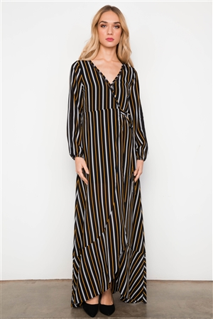 Black Orange Stripe Wrap Around Hi-Low Ladder Trim Maxi Dress