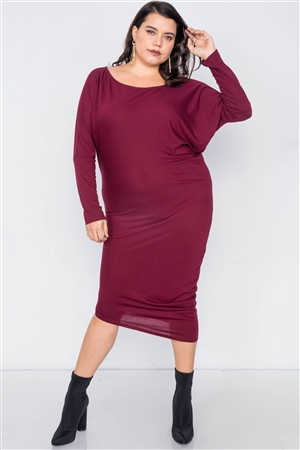 Plus Size Burgundy Semi-Sheer Asymmetrical Midi Bodycon Dress