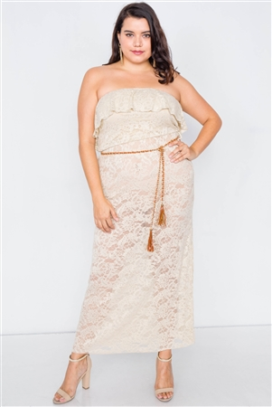 Plus Size Beige Sheer Floral Lace Tube Top Maxi Dress