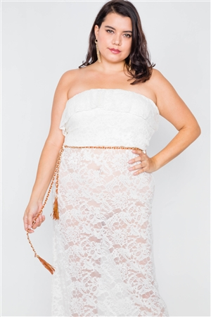 Plus Size Ivory Sheer Floral Lace Tube Top Maxi Dress