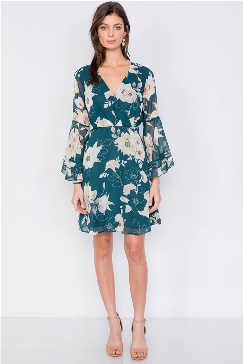 Green Floral Print Bell Sleeve Fit & Flare Mini Dress