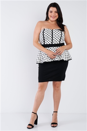 White Polka Dot Plus Size Pencil Skirt Dress