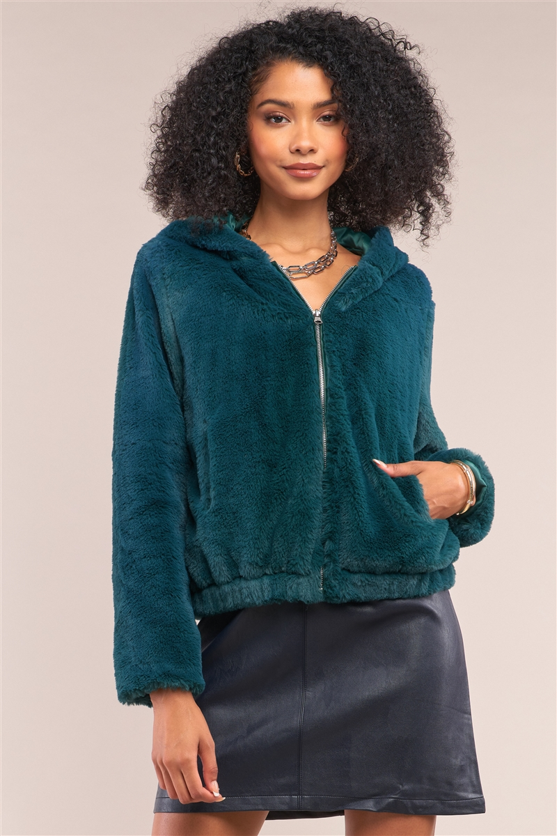 Green Soft Faux Fur Hooded Zip-Up Jacket /2-2-2