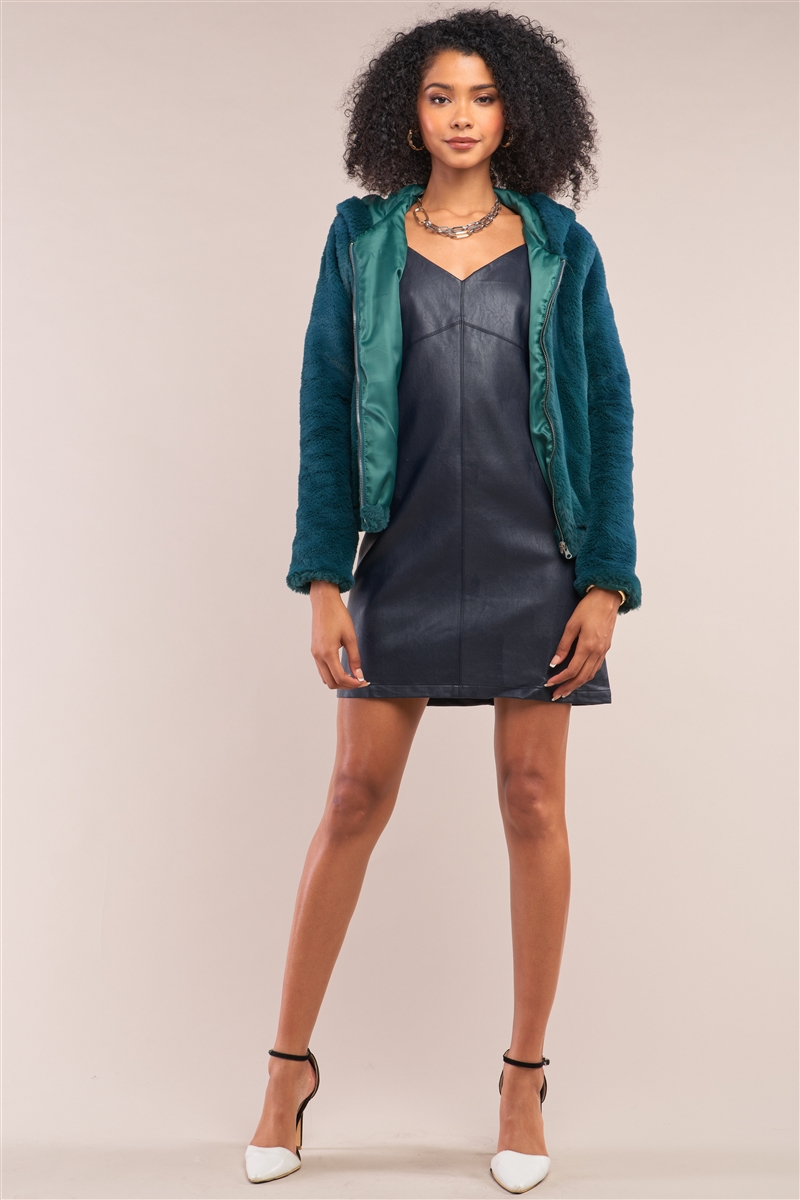 Green Soft Faux Fur Hooded Zip-Up Jacket /3-3