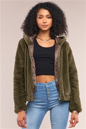 Olive Soft Faux Fur Hooded Zip-Up Jacket