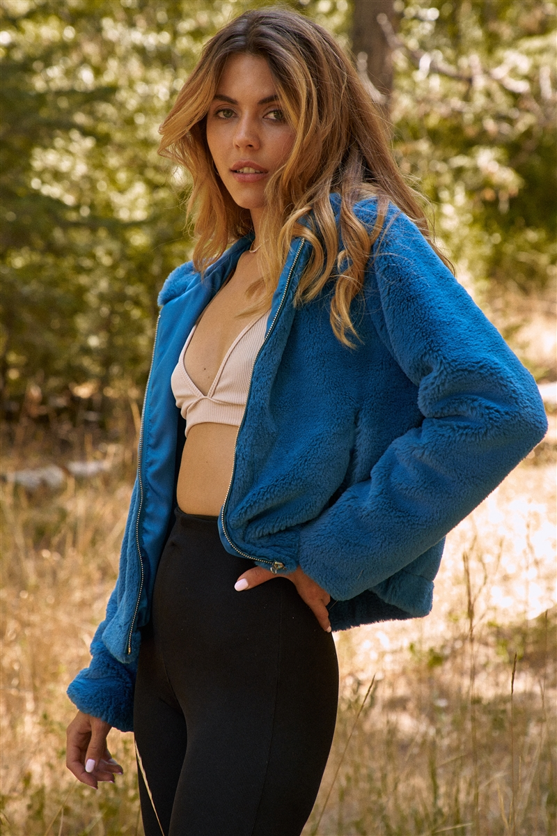 Teal Soft Faux Fur Hooded Zip-Up Jacket