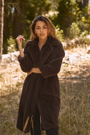 Coffee Brown Long Sleeve Open Front Faux Fur Trench Coat /2-2-2
