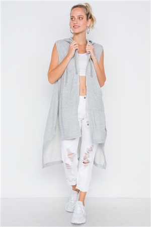 Heather Grey Sleeveless Zip-Up Hooded Knit Vest